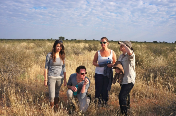 Me, Will, Ansley & Cassie tracking rhinos in the Kalahari Desert...kind of.