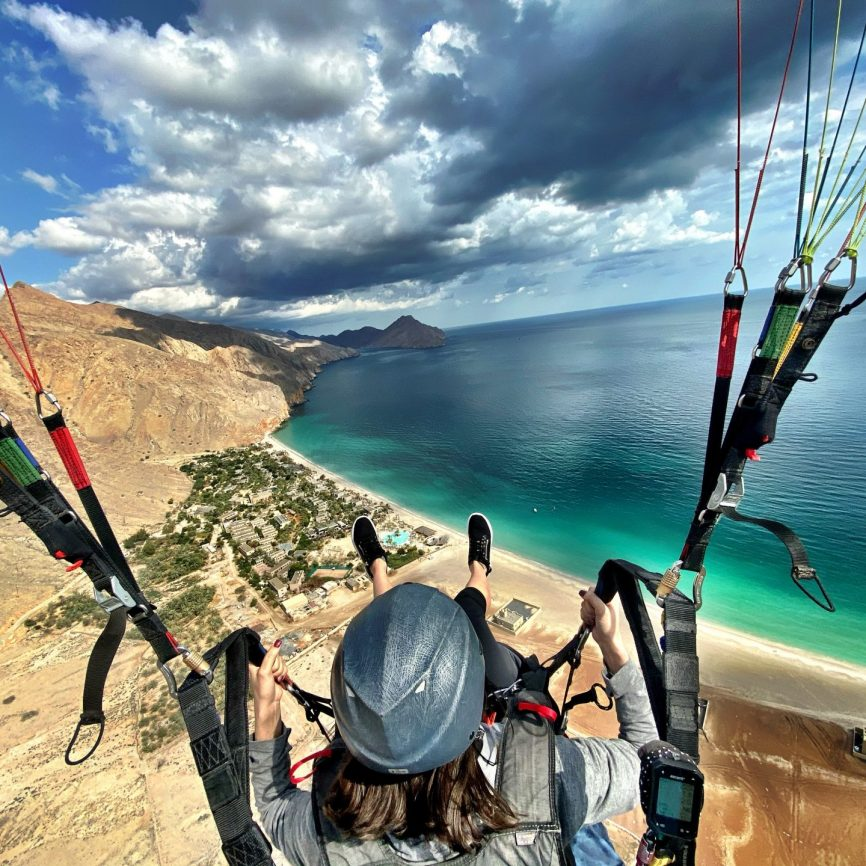 Parasailing at Six Senses Zighy Bay